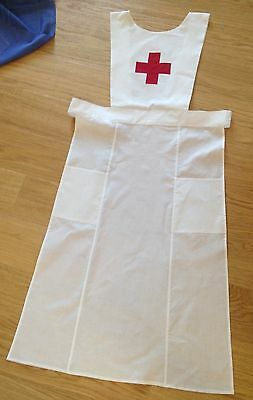 Handmade WW1 WWI Red Cross style Nurse Full Apron Uniform Historical Costume