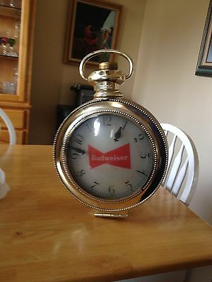 Vintage 1960's Budweiser Bow Tie  Rotating Lighted Sign And Clock Made In Usa