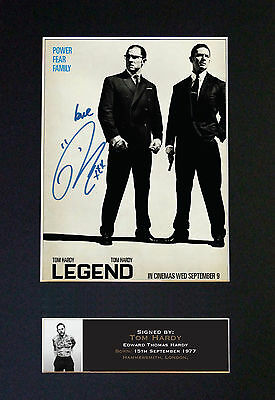 LEGEND/THE KRAYS -TOM HARDY Signed Collectors Photograph - FREE WORLD SHIPPING
