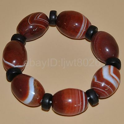 "Certified 100%Natural Tawny agate Bracelets""Grade A"" ~red"