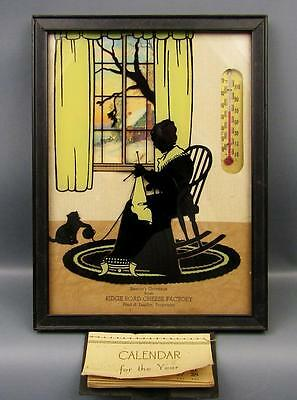 COLLECTIBLE ADVERTISING SILHOULETTE with Thermometer and Attached 1939 Calendar