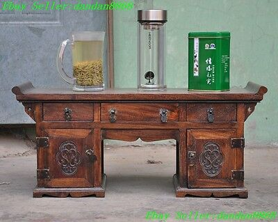 """21"""" Chinese Huanghuali wood carving flower statue Drawers Table Desk Jewelry Box"""