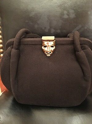 Vintage Rosenfeld Brown  Felt Purse With Gold Mask Clasp