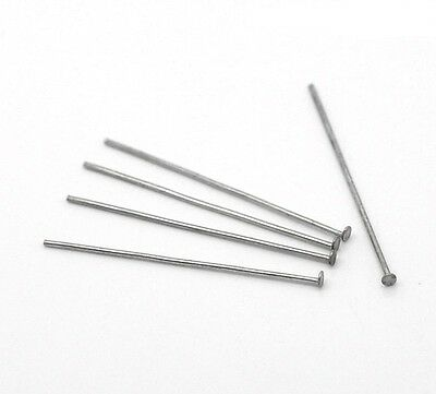 30x Stainless steel Rivet pins 33 mm silver