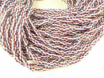 """26"""" strand striped red blue Czech glass seed beads tribal African trade AA-0013"""