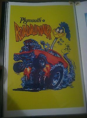 Vintage Plymouth Roadrunner Coyote Duster Hot Rod Car Poster Man Cave Garage Art