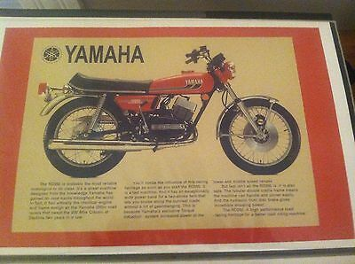 Vintage Yamaha Rd350 Rd Motorcycle Art Poster Man Cave Garage Art Advertising