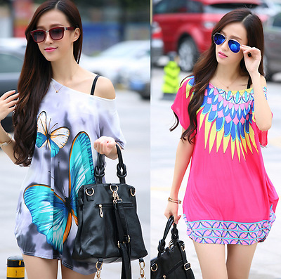 Plus Size Women's  Ice silk Long Loose Tee Short Sleeve Tops Printed T-Shirt New