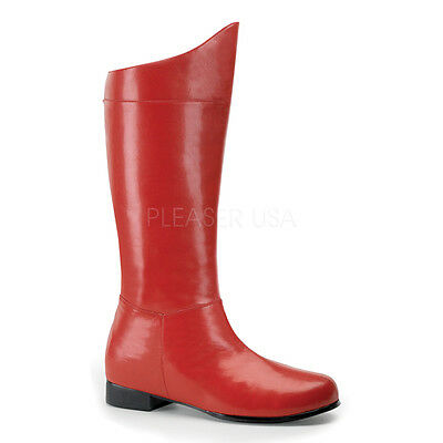 Superman Captain America SuperHero Villian Red Costume Cosplay Mens Boots