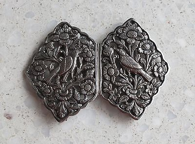 Heavy solid sterling silver Nurses Buckle Flowers and Birds ethnic 62.1g