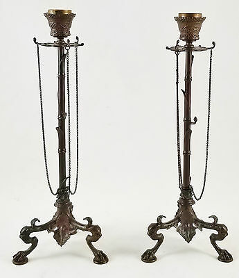 PAIR Antique FRENCH 19th C BRONZE F. BARBEDIENNE CANDLESTICKS Candle Sticks