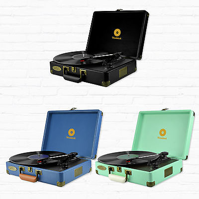 Refurbished mbeat  Retro  Vinyl Turntable Player in Black,Blue and Tiffany