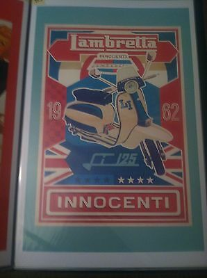 Vintage Lambretta Scooter Motorcycle Art Poster Man Cave Garage Art Advertising