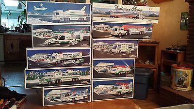 Hess Trucks Lot- (9)1993-2001 Plus 1 Mobil truck from 2000 (10 total) new in box