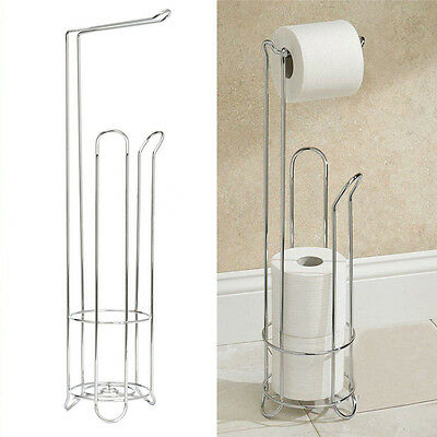 4 Roll Bathroom Paper Rack Holder Standing Tissue Toilet Brush Storage Set