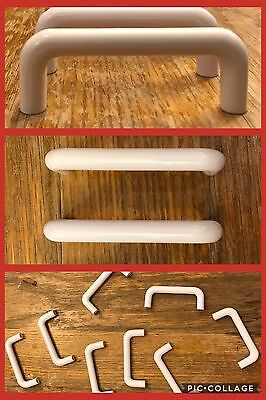 8 Pulls Handles White Plastic Drawer Cupboard Cabinet Door Knobs RETRO Vintage