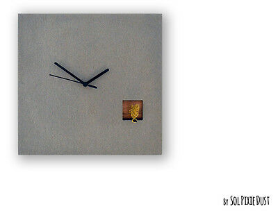 Cuckoo Clock Silver Bird.Concrete and Wood - Square Wall Clock-Modern Wall Clock