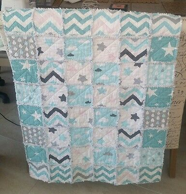 Handmade Baby Cot / Crib /Floor Rag Quilt .Teal /Grey /White.Pink 100 % Cotton.