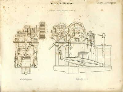 Antique print STEAM NAVIGATION Double Towing Engine - engraving - 1842