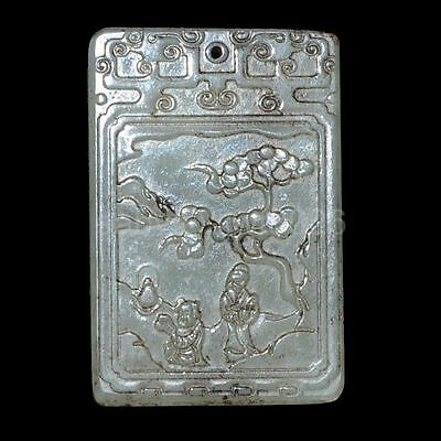 Ancient Chinese antiques hetian jade carved statues talisman