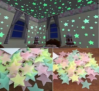 100PCS In The Dark Stars Stickers Home Wall Glow Ceiling Decal Baby Kids Bedroom
