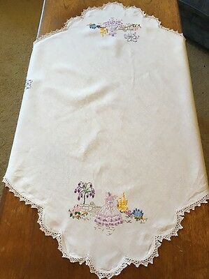 Vintage Hand Embroidered Linen Tablecloth Crinoline Lady Square Crochet Edge