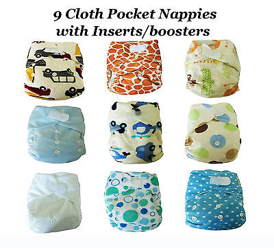 * SALE * Pack of 12 Washable Reusable Cloth Pocket Nappies with Inserts