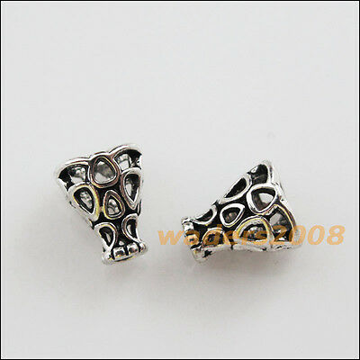 25 New Charms Tibetan Silver Tone Hollow Speaker End Bead Caps 7.5x9mm