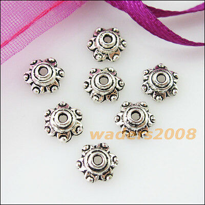 50 New Connectors Tiny Flower Tibetan Silver End Bead Caps 7mm