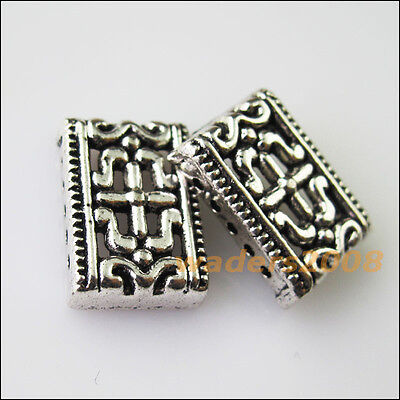 8 New 5-5Holes Bars Connector Charms Tibetan Silver Tone Spacer Beads 6.5x11.5mm