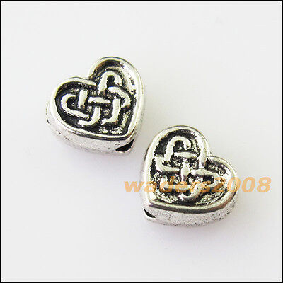 20 New Chinese Knot Heart Charms Tibetan Silver Tone Spacer Beads 6.5x7.5mm