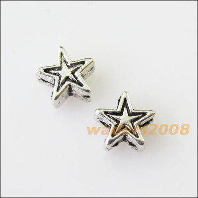 50 New Tiny Star Charms Tibetan Silver Tone Spacer Beads 6mm