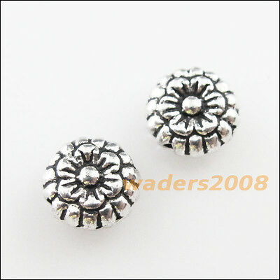 25 New Charms Tibetan Silver Tone Flower Round Flat Spacer Beads 7mm