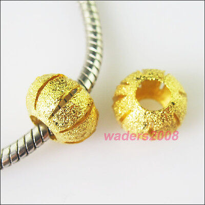 8 Charms Gold Plated Round 5mm Hole Beads fit European Bracelet 11.5mm