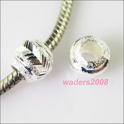8 Charms Silver Plated Round 5mm Hole Beads fit European Bracelet 10mm