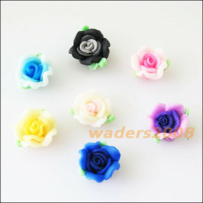 10 New Charms Handmade Polymer Fimo Clay Flower Spacer Beads Mixed 10mm