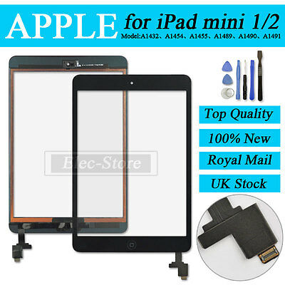 Black Screen For iPad mini 1 2 Touch Digitizer Replacement With Home Button + IC