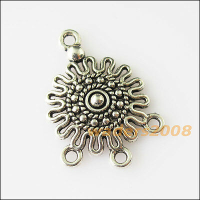 8 New Sun Flower Connectors Tibetan Silver Tone Charms Pendants 18.5x26mm