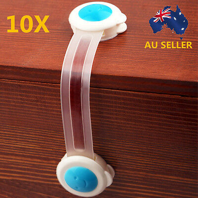 10xAdhesive Baby Child Kids Cute Safety Lock For Drawer Door Cupboard Cabinet AU