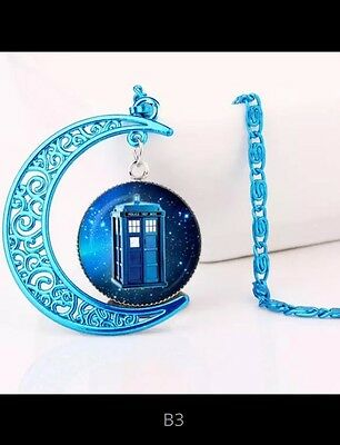 Pretty Doctor Who Inspired Necklace Tardis Police Box Blue Moon Valentine Gift