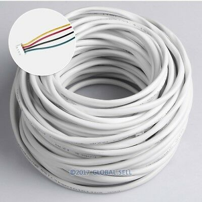 4 Core 30m 0.5mm² White Flexible Copper Cable For Video Door Intercom System