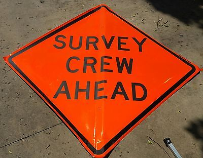 """65 in. """"Survey Crew Ahead"""" Roll Up Road Sign w/ Ribs ***New***"""