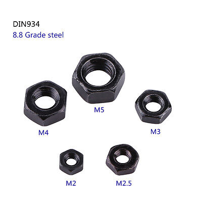 100pcs Din934 M2/M3/M4/M5 Black Carbon Steel Metric Hex Hexagonal Nuts High Q im