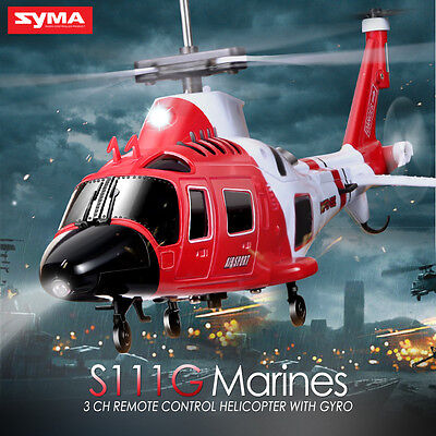Syma S111G Infrared Radio Control 3CH RC Army Attack Helicopter with LED Light