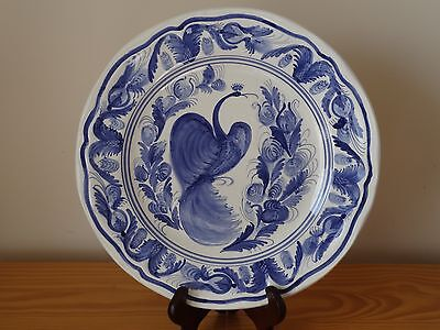 c.20th - Vintage Spain Spanish Blue and White Chinese Style Birds Majolica Plate