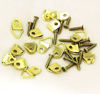 16 Hanging Set Hooks Nails Screw Fixing Brass Golden Frame Picture Home Office