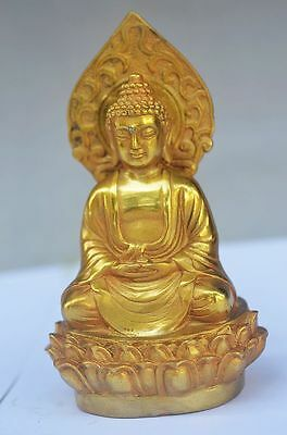 Delicate Chinese Brass Handmade Carved Lifelike Buddha Statue