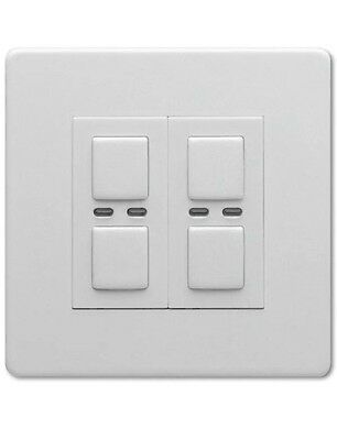 Lightwave Dimmer Switch 2 Gang LW420WH Smart Home, Control by App BNIB New White