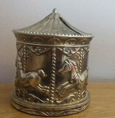 Vintage Silver Plated Carousel Money Box Christening Gift Baby Gift Carousel