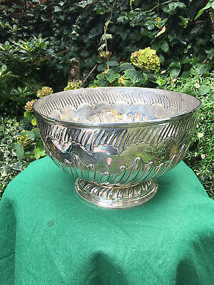 Antique  Victorian Large  Silver Embossed Punch Bowl-Hallmarked London 1890